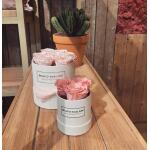 Blumenbox Rund Weiß Ø 12 cm - Rosa