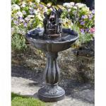 Springbrunnen - Vogelbad mit gekipptem Eimer, solarbetrieben