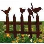 Zierzaun mit vier Vögeln - Dekorost