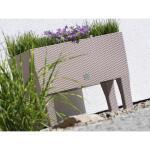Blumenkasten RATTAN erhöht mit Bewässerungssystem Mokka - 60 x 25 x46 cm