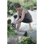 Ergonomischer Gartenhocker - grau/sand