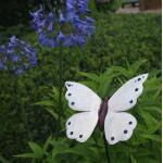 Schmetterling weiß auf verschnörkeltem Bodenstecker
