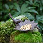 Vogelbad Gusseisen/Vogel auf Blatt