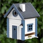 Futterhaus - Vogelhaus blau - weiß